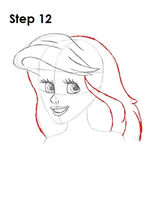 How to Draw Ariel Step 12