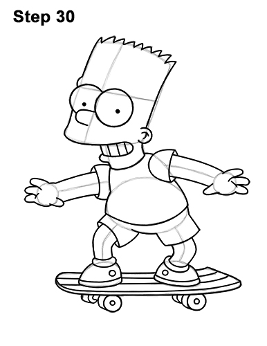 How to Draw Bart Simpson Full Body Skateboard Skater Skating 30