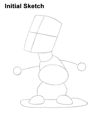 How to Draw Bart Simpson Full Body Skateboard Skater Skating Initial Sketch