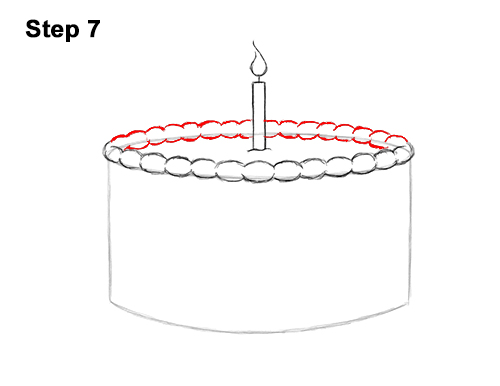 How to Draw Cartoon Birthday Cake Candle 7