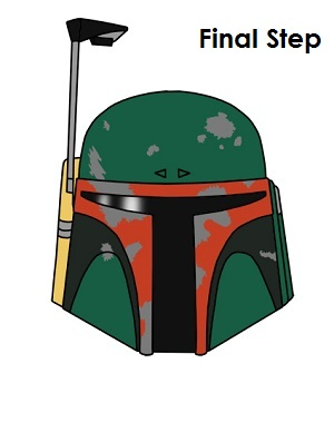 Draw Boba Fett Completed Drawing