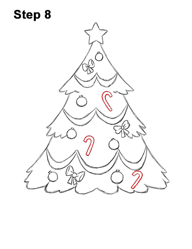 How to Draw Cartoon Christmas Tree with Presents 8