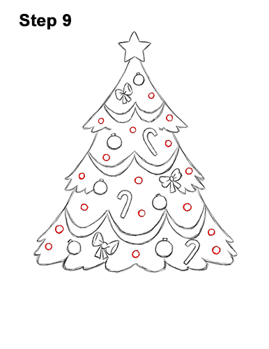 How to Draw Cartoon Christmas Tree with Presents 9