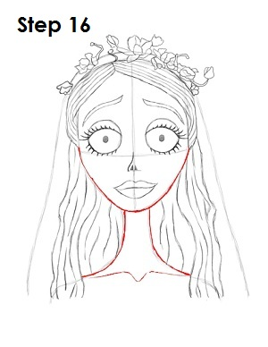 How to Draw Corpse Bride Step 16