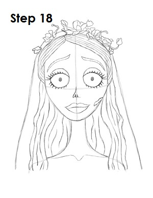 How to Draw Corpse Bride Step 18
