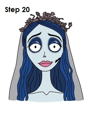How to Draw Corpse Bride Completed Drawing