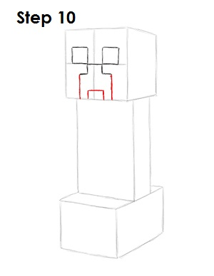Draw Minecraft Creeper 10