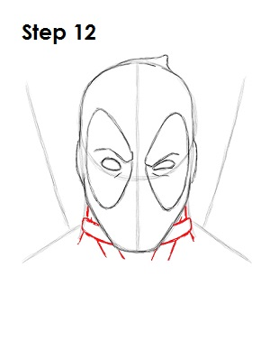 Step 12: Use the lines under Deadpool's head as guides to draw the ... Easy Drawings Of Tom And Jerry
