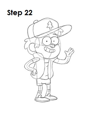 Draw Dipper Pines Step 22