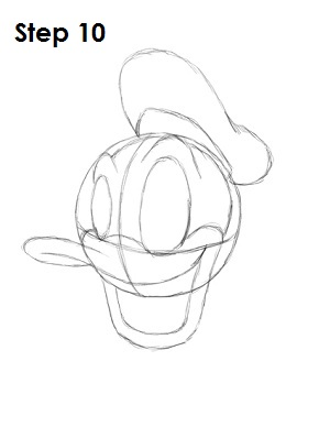 Draw Donald Duck Step 10