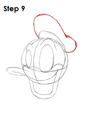 Draw Donald Duck Step 9