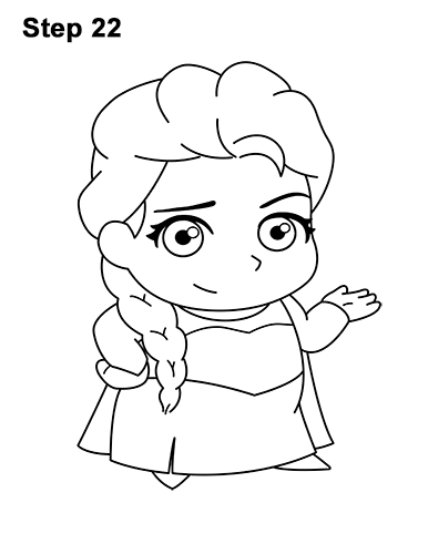 Draw Mini Chibi Cute Little Elsa Frozen 22