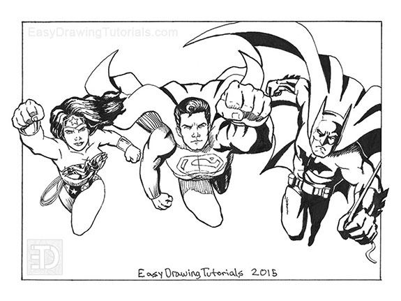 Wonder Woman Superman Batman Drawing Inks