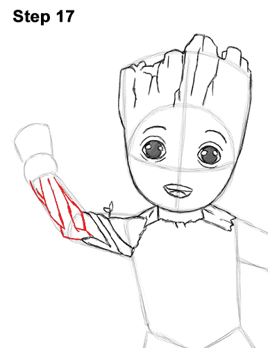 How to Draw Baby Groot Full Body Guardians of the Galaxy 17