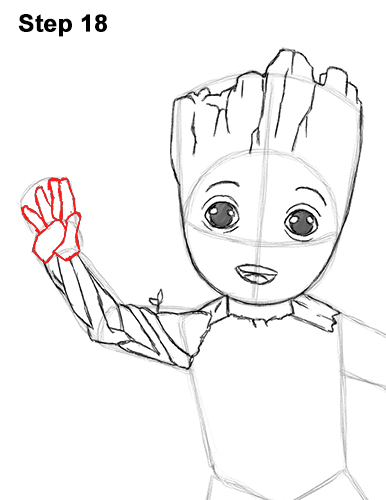 How to Draw Baby Groot Full Body Guardians of the Galaxy 18