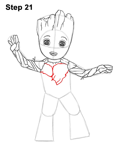 How to Draw Baby Groot Full Body Guardians of the Galaxy 21