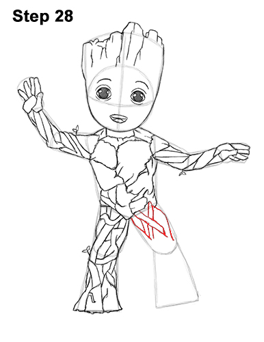 How to Draw Baby Groot Full Body Guardians of the Galaxy 28