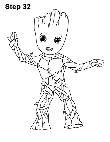 How to Draw Baby Groot Full Body Guardians of the Galaxy 32