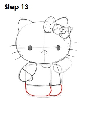 draw hello kitty step 13