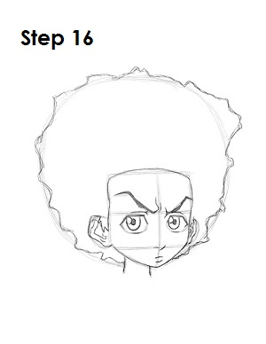 how to draw huey boondocks step 16