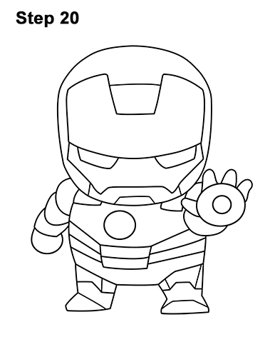 Draw Mini Chibi Cute Little Iron Man 20