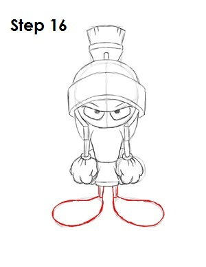 Draw Marvin the Martian Step 16
