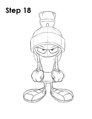 Draw Marvin the Martian Step 18