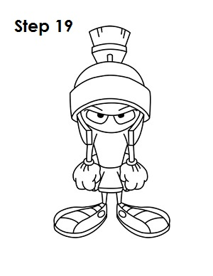 Draw Marvin the Martian Step 19