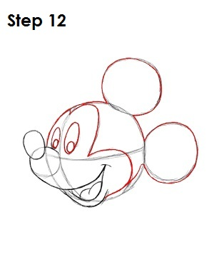how to draw mickey mouse old face easy