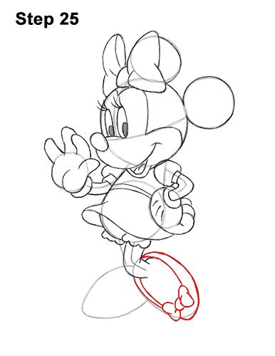 how to draw minnie mouse full body