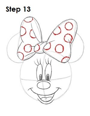 draw minnie mouse step 13