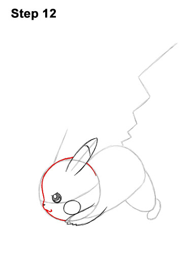 How to Draw Pikachu Pokemon Side Lightning Rod Attack Fight Battle Bold 12