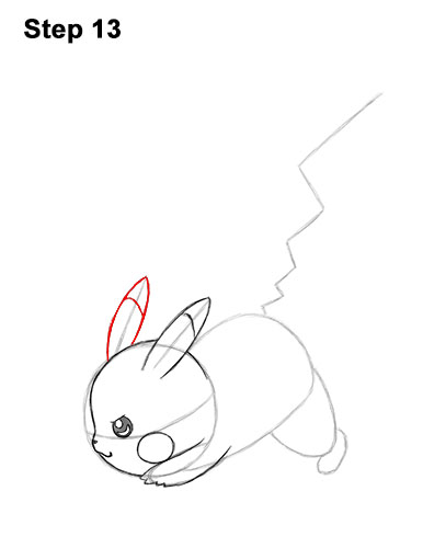 How to Draw Pikachu Pokemon Side Lightning Rod Attack Fight Battle Bold 13