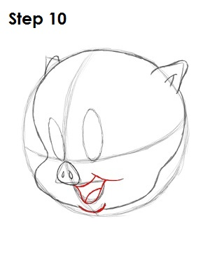 Draw Porky Pig Step 10