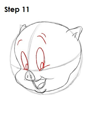 Draw Porky Pig Step 11