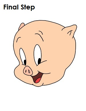 Draw Porky Pig Step 14