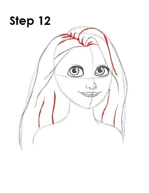 How to Draw Rapunzel Step 12