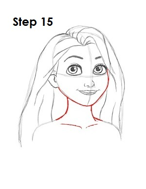 How to Draw Rapunzel Step 15