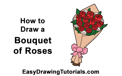 How To Draw A Bouquet Of Roses Video Step By Step Pictures
