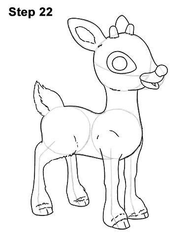 Reindeer Face Line Drawing : How to draw rudolph the red nosed reindeer