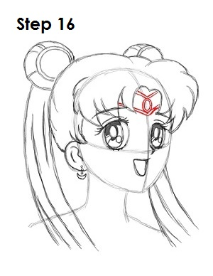 Draw Sailor Moon Step 16