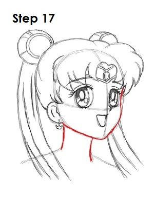 Draw Sailor Moon Step 17