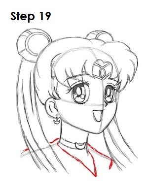 Draw Sailor Moon Step 19
