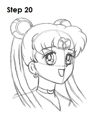 Draw Sailor Moon Step 20