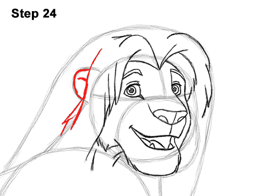 Draw Adult Grown Up Simba Lion King Disney 24