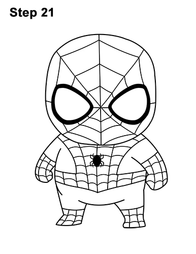 Draw mini chibi little spider man 21