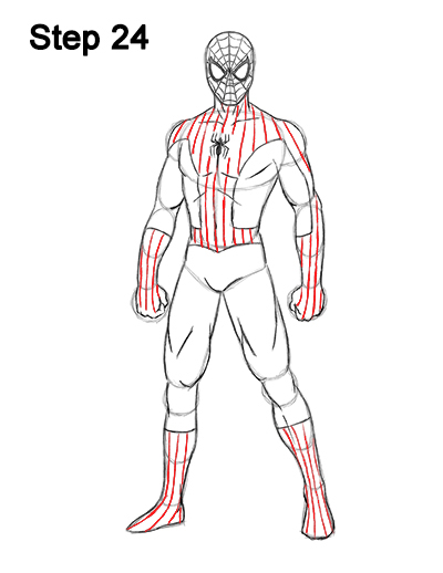 Draw spider man body 24