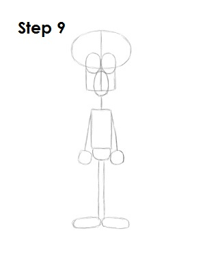 How to Draw Squidward Step 9