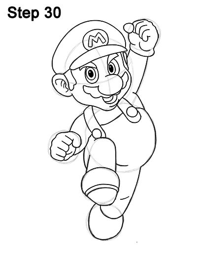 How to draw super mario full body for Super easy drawings