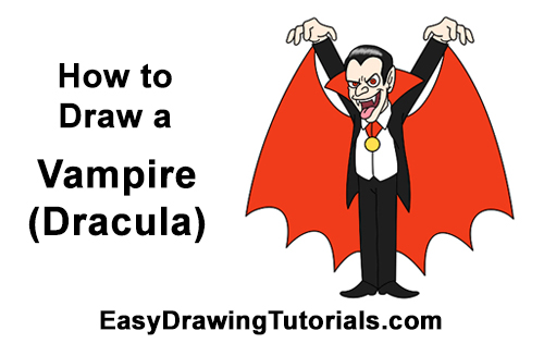 how to draw dracula step by step